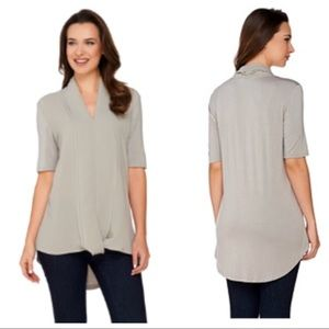 H by Halston Knit Top with Chiffon Drape Front